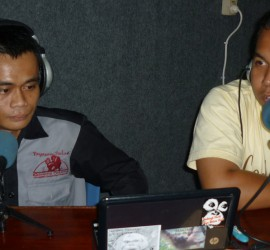 GPOCP Environmental Education staff member, Petrus Kanisius, and a guest share information about orangutan conservation with radio listeners.