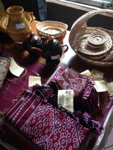 Products from across Kalimantan, including local hand-crafted baskets and teapots, on display at the Weaver Meeting.