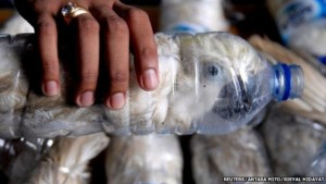 A yellow-crested cockatoo smuggled inside of a plastic bottle in Java, Indonesia. (Photo © Reuters/Antara Foto/Risyal Hidayat)