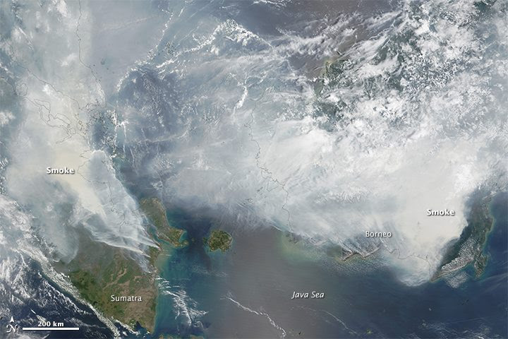 This satellite image from NASA, taken on September 24, 2015, shows smoke from fires burning on the islands of Borneo and Sumatra. For more information, visit the Earth Observatory site. Photo © Adam Voiland (NASA Earth Observatory) and Jeff Schmaltz (LANCE MODIS Rapid Response).